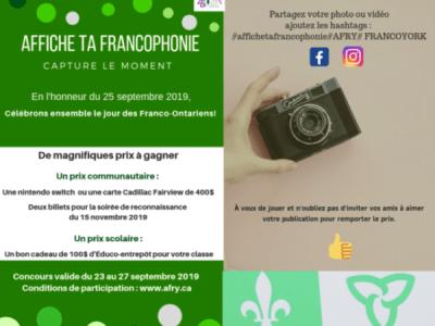 Participation au concours «Affiche ta francophonie» sur les réseaux sociaux