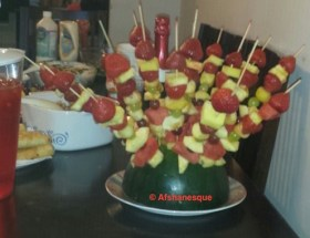 Fruit cocktail on sticks