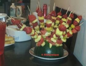 Fruit cocktail on sticks