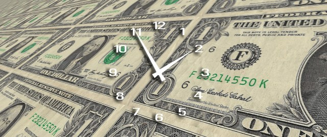 $1 bills with a clock overlay