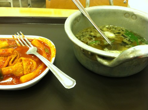 my favorite Korean fast food. tteokbokki and soup for about $2.