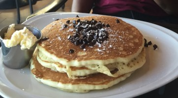 my bro's chocolate chip pancakes from the Tropics Bar and Grill.