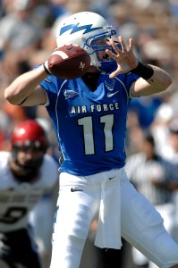 Connor Dietz attempts a pass during Air Force's 26-14 win over San Diego State. (Air Force Photo)