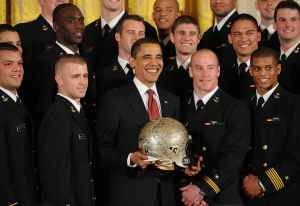 President Obama awarded the trophy last year to the Midshipmen.