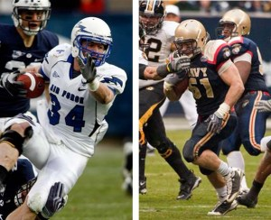Air Force's Chris Thomas, left, and Navy's Ross Pospisal, right, will be playing in the East-West Shrine Game on Saturday. (AP photos)