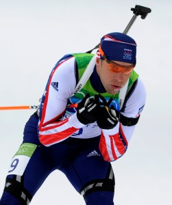 Sgt. Jeremy Teela skis Feb. 16 during the 12.5-kilometer biathlon pursuit at the Winter Olympics in Whistler, British Columbia. (AP Photo/Jens Meyer)