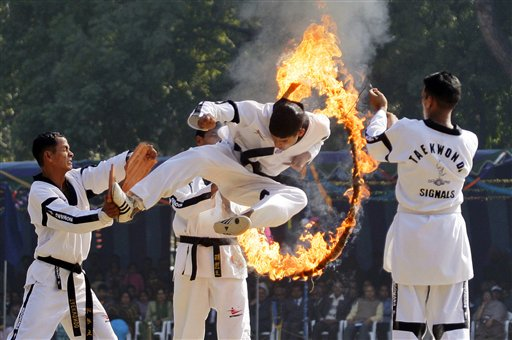 Another Taekwondo demonstration by the Indian army. (AP Photo/Gurinder Osan)