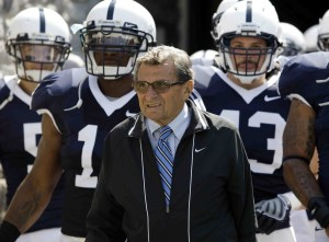 Penn State coach Joe Paterno will lead his Nittany Lions agains the Midshipmen and their option attack in 2012. (AP photo)