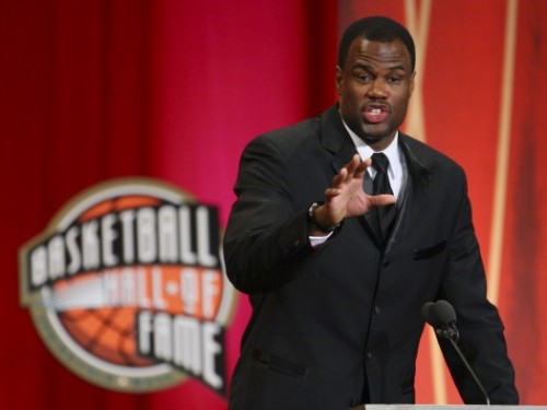Former San Antonio Spurs center David Robinson speaks during his enshrinement ceremony into the Naismith Basketball Hall of Fame in Springfield, Mass., Friday night, Sept. 11, 2009. (AP Photo/Stephan Savoia)