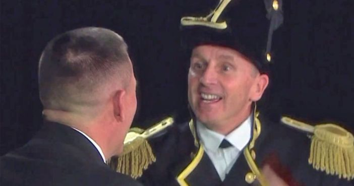 Your spirit spot could win you Army-Navy tickets. Above, an image from last year's official Navy video, the final spirit-spot performance of Adm Jon Greenert, right, as chief of naval operations. (Navy via YouTube)
