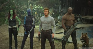 Guardians Of The Galaxy Vol. 2 L to R: Gamora (Zoe Saldana), Nebula (Karen Gillan), Star-Lord/Peter Quill (Chris Pratt), Drax (Dave Bautista) and Rocket (voiced by Bradley Cooper) Ph: Film Frame ©Marvel Studios 2017