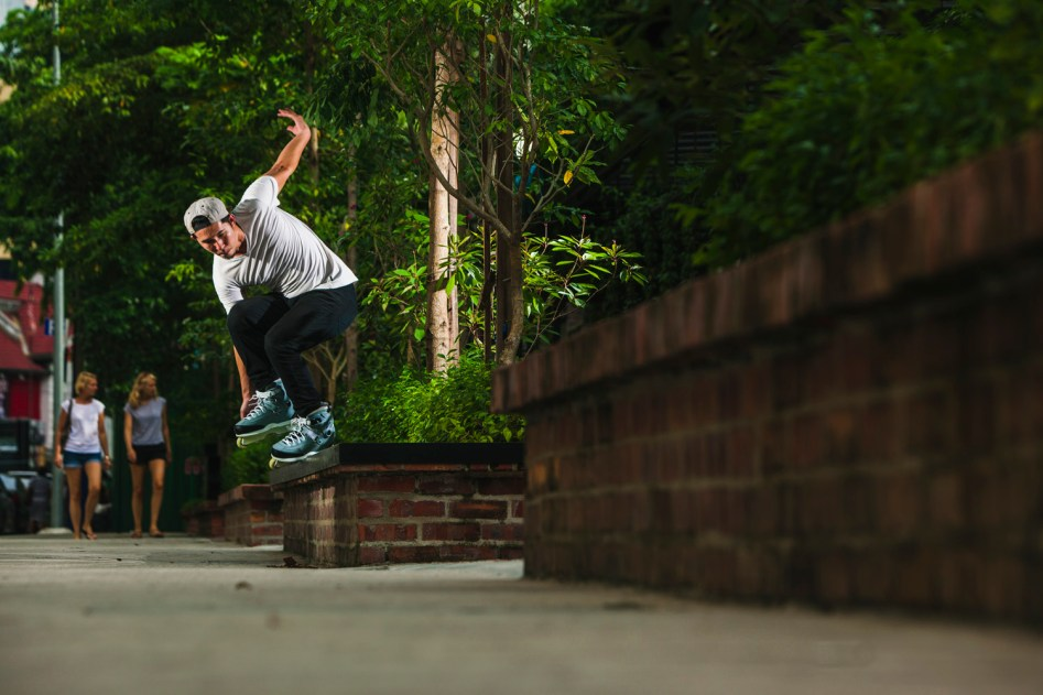 Aaron Koh with a Backside Torque Slide outside Wheel Love Skate shop