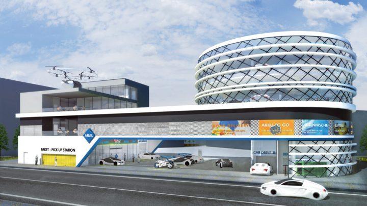 Großstadt Tankstelle der Zukunft