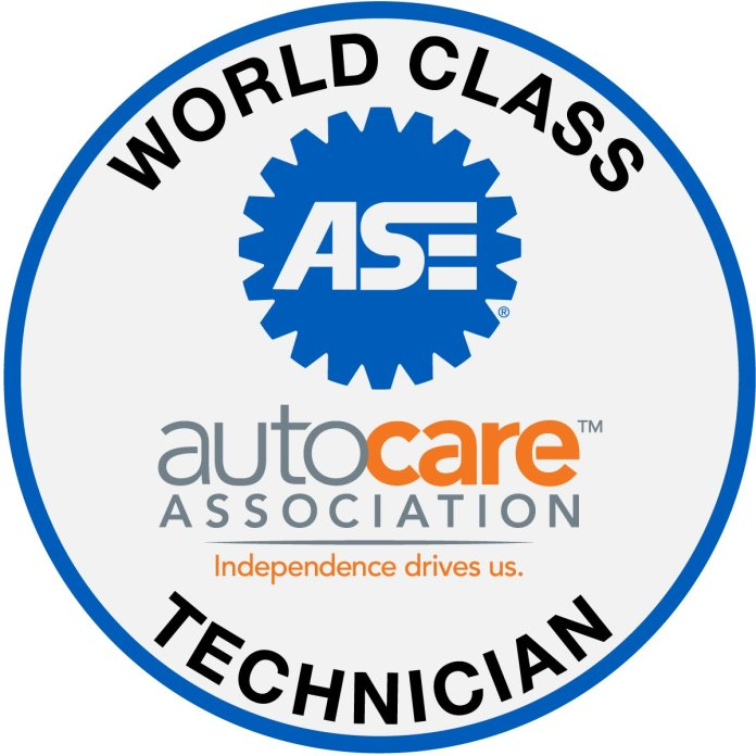 Logo for the Auto Care Association and National Institute for Automotive Service Excellence (ASE) Announce 2019 World Class Technicians.