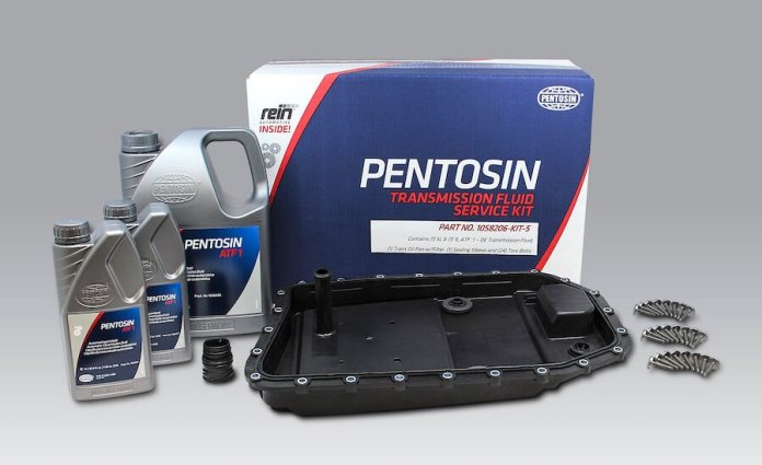 This is an image of the CRP Pentosin Transmission kit, showing bottles of fluids, bolts, the kit's package and parts.