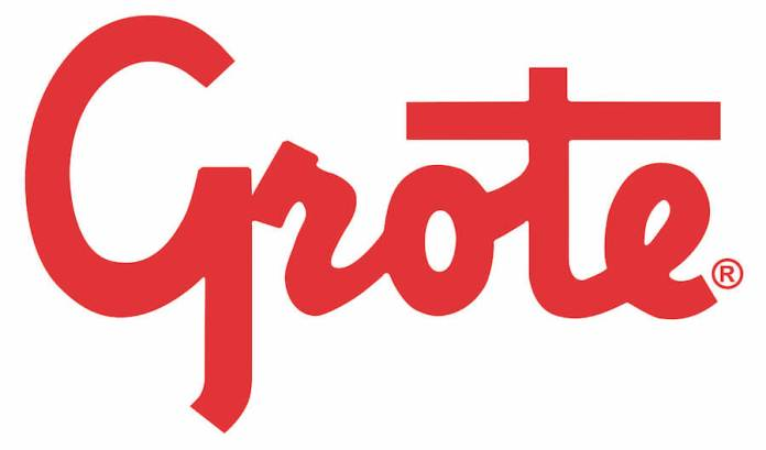 This is the logo of Grote Industries. It says Grote is a red script font.
