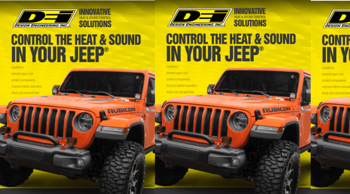 """This image shows the new DEI brochure. The cover reads, """"DEI Innovative Heat And Sound Control Solutions."""" Control the heat and sound in your jeep. The background of the brochure is yellow and features an orange Jeep Rubicon."""