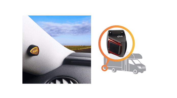 Senzar is a simple install that can be done in a DIY method or brought to automotive electronics shop for installation. In this photo, on the left, is the part of the system that provides notifications. On the right, the sensor that detects vehicles is shown where it be installed on the outside of the vehicle.