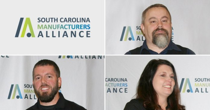 """This is an image of three people, unidentified, a logo that says """"South Carolina Manufacturers Alliance."""""""