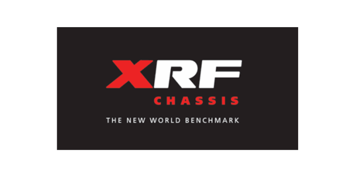 """The is the XRF logo. The X is red. The R and F are white. Below that, it says """"Chassis"""" in red. A tag line below the logo says """"The new world benchmark."""""""