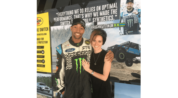 MAHLExRTR Social Media Promotion Grand Prize winner Robert Lewis (l) and his wife, Vanessa Lewis (r), enjoy themselves at the 2019 Formula Drift championship at Long Beach, California, on April 4–5.