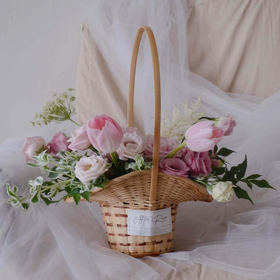 Rain's pastel flower basket by AfterRainFlorist, PJ Florist