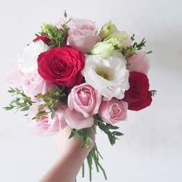 Classic Style Round Bridal Bouquet by AFTERRAINFLORIST