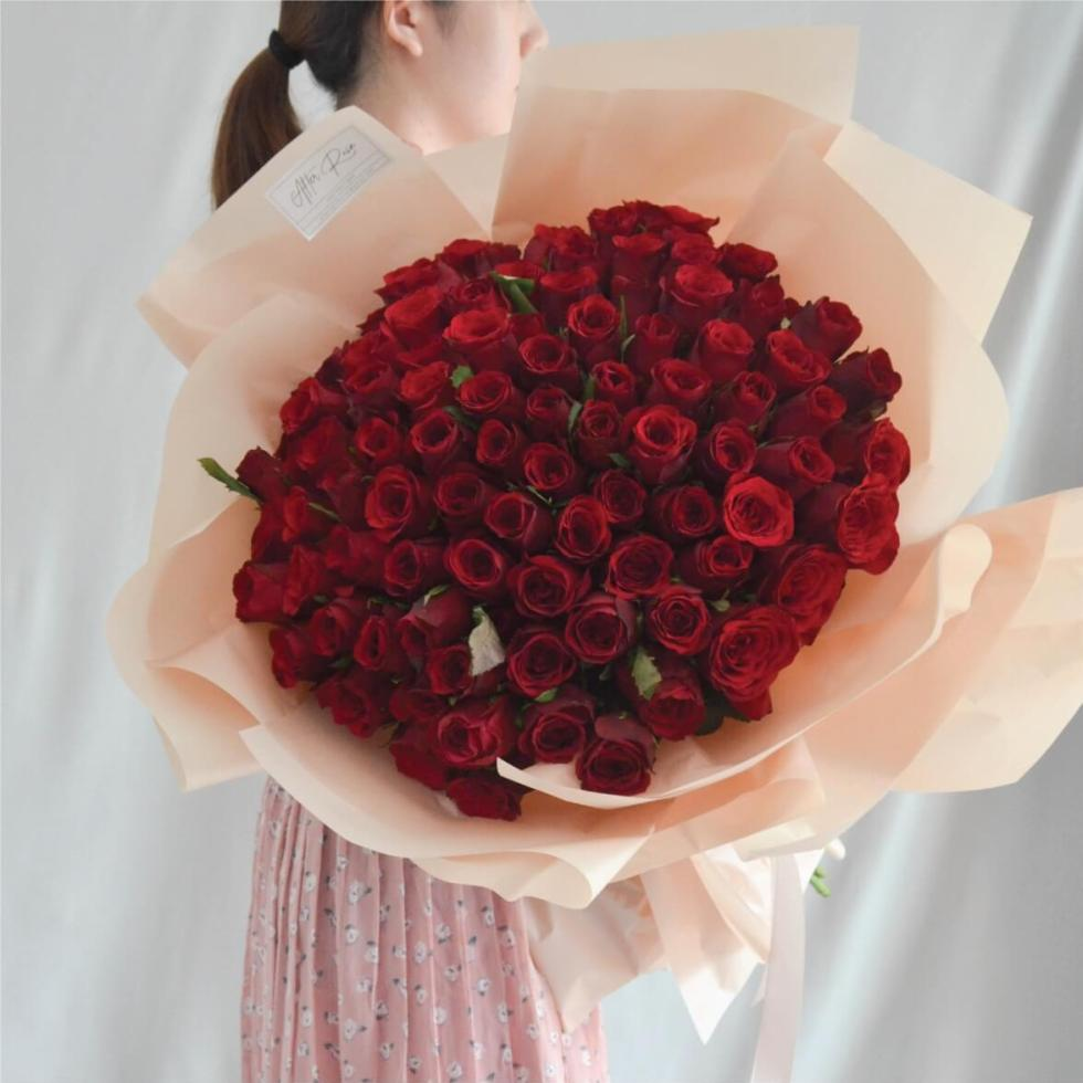 Fresh & Beautiful 99 Red Rose Bouquet by AFTERRAINFLORIST