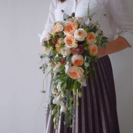 Fresh Cascading Bridal Bouquet by AfterRainFlorist