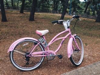 The pink bike I rented in Büyükada. Is not it lovely!