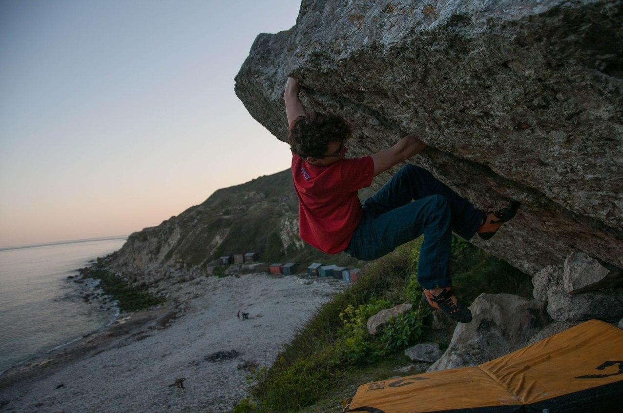 Sam holding on at 'Terror Boulder'
