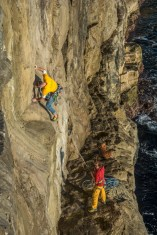 Chris Weedon on first ascent 'Second Helping'Chris Weedon on first ascent 'Second Helping'