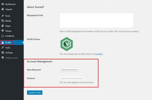 Change Login Password in WordPress