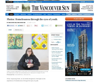 Unpacking Home: Ashley in the Vancouver Sun