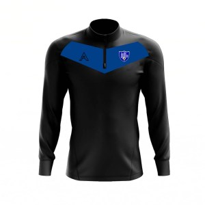 Custom Black with Blue Center Panel Quarter Zip Top AFYM:3003