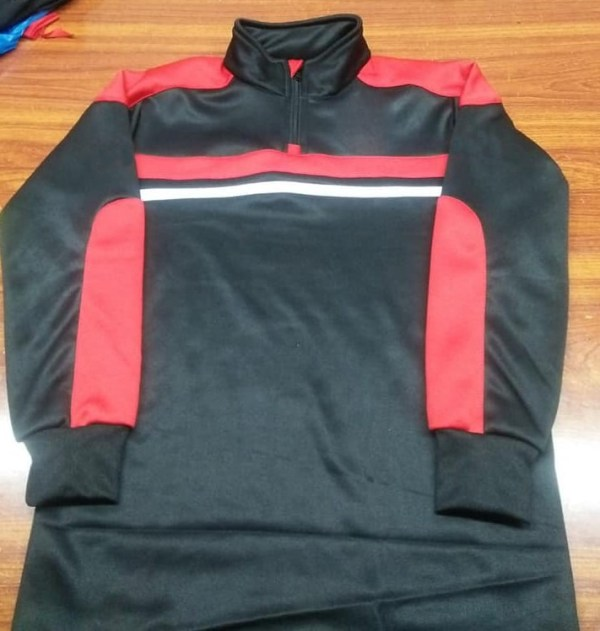 Black and Red Panels Quarter Zip Top AFYM:3010