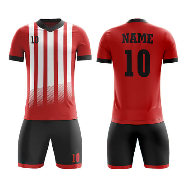 Red and Black with White Panel Sublimation Soccer Kits AFYM:2010