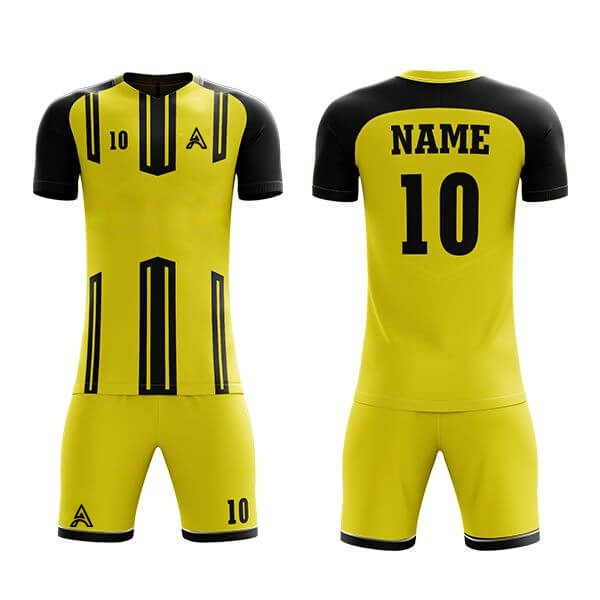 Yellow with Black Trimming Sublimation Soccer Kits AFYM:2012