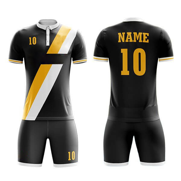 Black Sublimation Soccer Kits with Front Two Color Trimming AFYM:2019