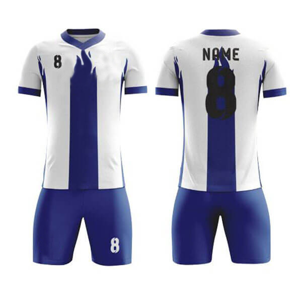 White with Blue Fire Sublimation Soccer Kits AFYM:2024