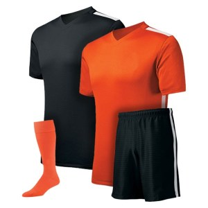 Black and Orange with White Stripe Reversible Sublimation Soccer Kit AFYM:11000