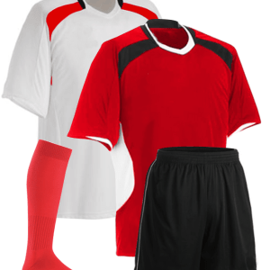 Red and White with Black Panel Reversible Sublimation Soccer Kit AFYM:11007