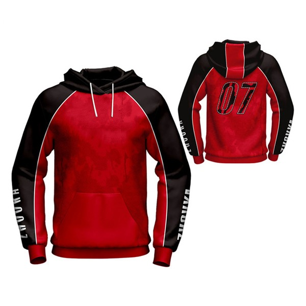 Red with Black Art Sublimation Hoodie AFYM-5030
