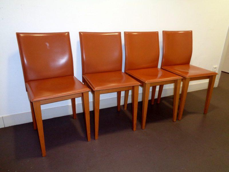 lot de 4 chaises visiteur en cuir