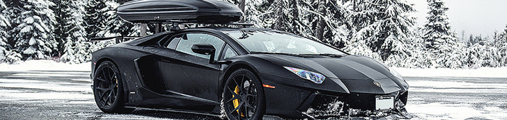 Lamborghini Aventador LP700-4 with a roof box is ideal for skiing