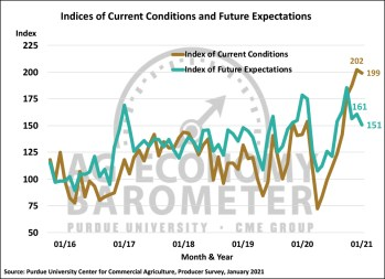 Figure 2. Indices of Current Conditions and Future Expectations, October 2015-January 2021.
