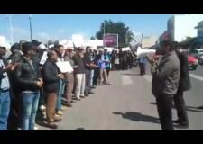 """+فيديو: قراءة الفاتحة على روح المناضل """"موزاكي"""" في أول وقفة احتجاجية بأكادير بعد وفاته"""