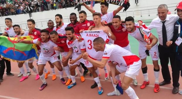 فرحة مستحقة للاعبي حسنية أگادير بعد الفوز على فريق الرجاء البيضاوي