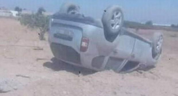 +صورة: نجاة ركاب من موت محقق خلال حادث انقلاب سيارة باشتوكة أيت باها.