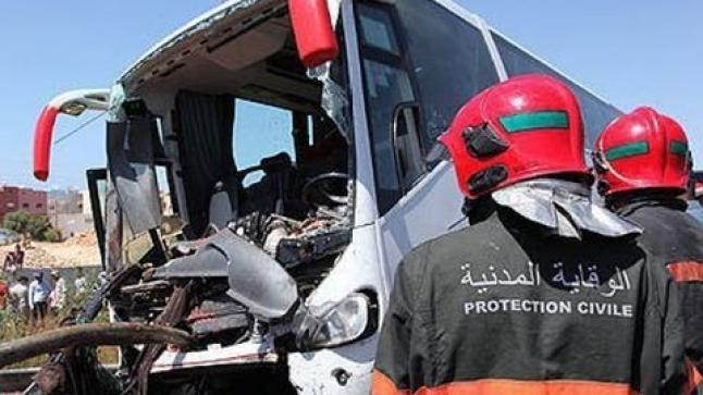 مصرع شخصين في انقلاب حافلة لنقل المسافرين